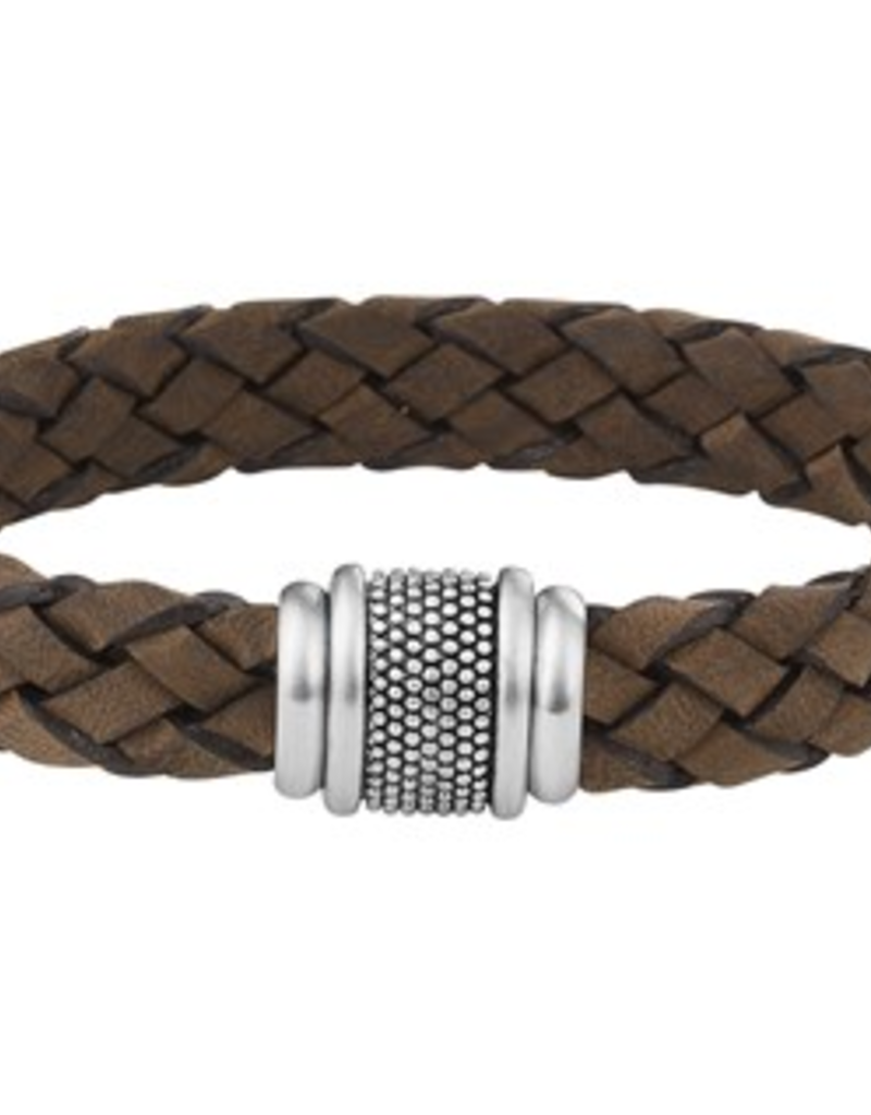 Leren armband - Edelstaal - Lichtbruin -  12 mm - 21 cm