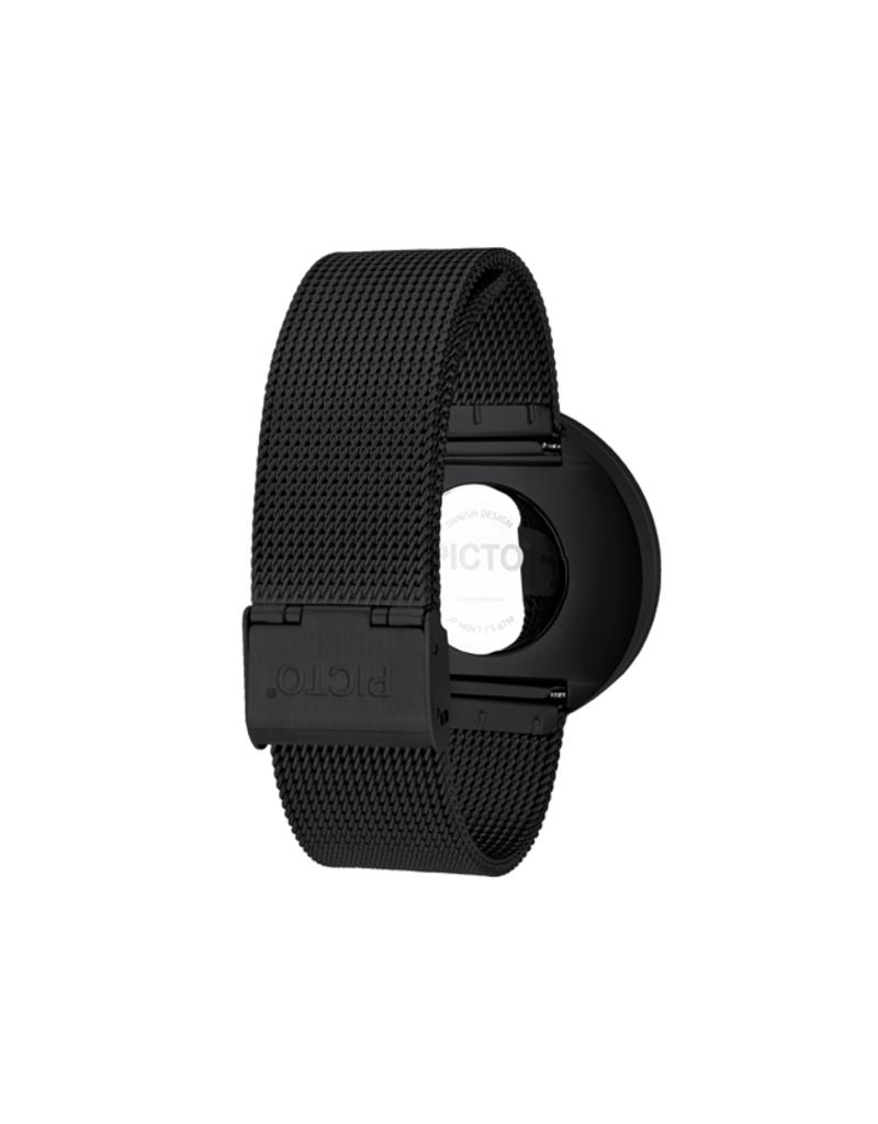 Picto Picto - Horloge - Zwart - Staal - 40 mm - Milanees