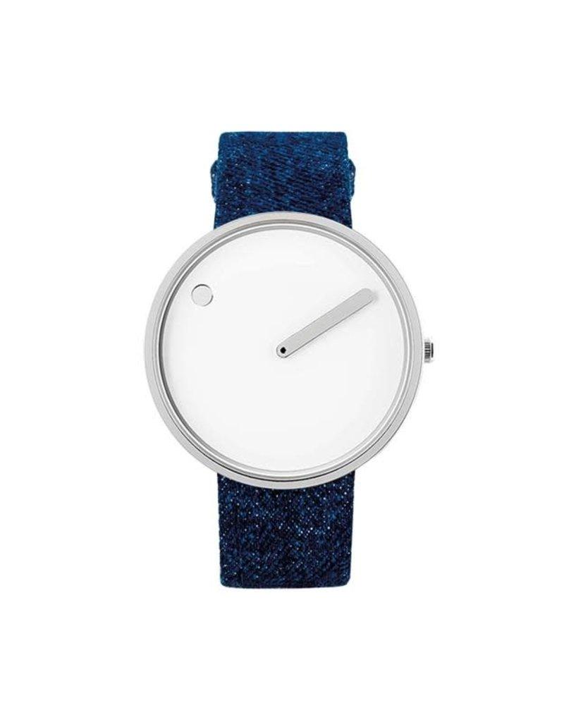 Picto Picto - Horloge - Wit/Jeans - Leer - 40 mm