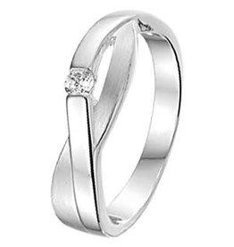 Zilveren ring - Zirkonia - Gerhodineerd - Mat/glanzend - Maat 17