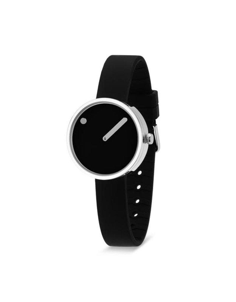 Picto Picto - Horloge - Zwart - Staal - 30 mm -Siliconen
