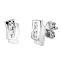 Zilveren oorknoppen - Gerhodineerd - Mat/glanzend - Zirkonia