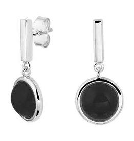 Zilveren oorhangers - Gerhodineerd - Onix