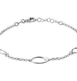 Zilveren armband - Gerhodineerd - Ovaaltjes - 2,0 mm - 17 + 2 cm