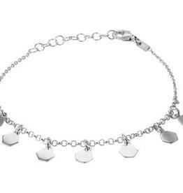Zilveren armband - Gerhodineerd - Zeshoeken - 2,0 mm - 16 + 3 cm