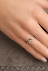 Gouden ring - Bicolor - Zirkonia - Maat 17.25