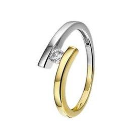 Gouden ring - Bicolor - Zirkonia - Maat 17