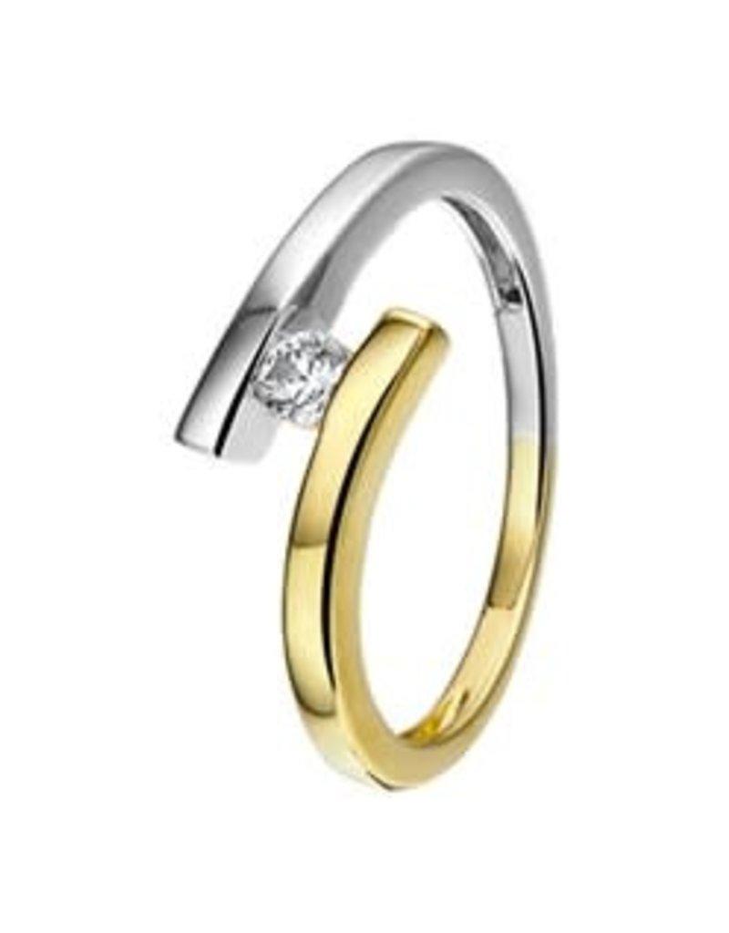 Gouden ring - 14 karaats - Bicolor - Zirkonia - Maat 17