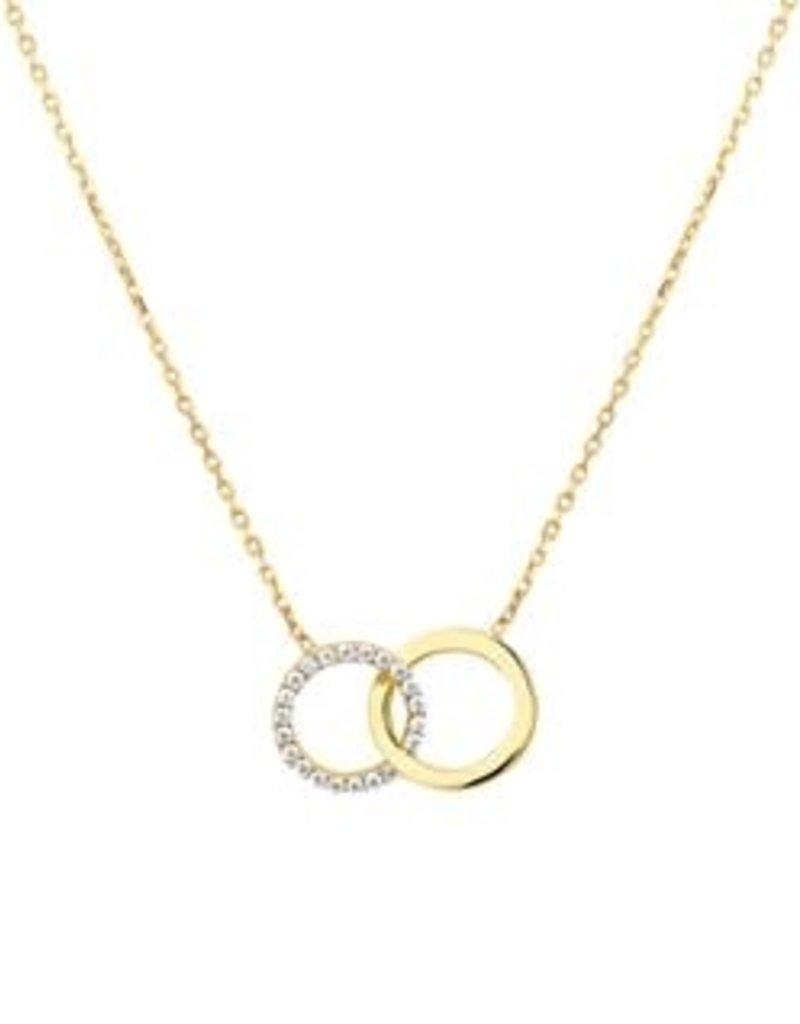 Gouden collier - 14 karaats - Rondjes - Zirkonia - 42-45 cm