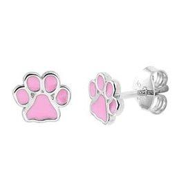Zilveren oorknoppen - Gerhodineerd - Hondenpootje roze