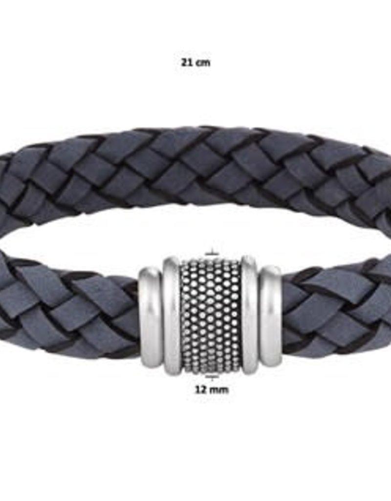 Leren armband - Edelstaal - Blauw - 12 mm - 21 cm