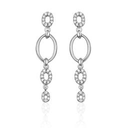 Gisser Zilveren oorhangers - Gerhodineerd - Zirkonia