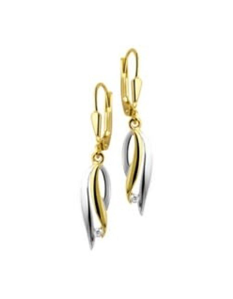 Gouden oorhangers - 14 karaats - Wit/geel - Zirkonia