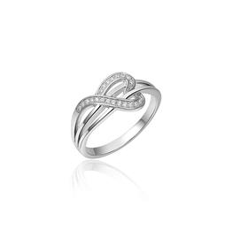Gisser Zilveren ring - Gerhodineerd - Zirkonia