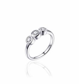 Gisser Zilveren ring - Gerhodineerd - Zirkonia - Maat 52