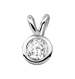 Zilveren hanger - Gerhodineerd - Zirkonia