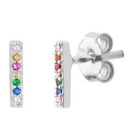 Zilveren oornknoppen - Gerhodineerd - Balke - Zirkonia - Multicolor