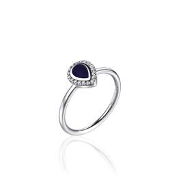 Gisser Zilveren ring - Gerhodineerd - Zirkonia - Epoxy - Maat 54