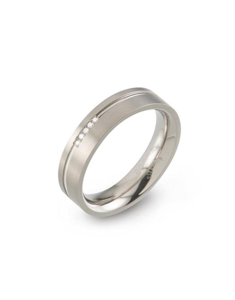 Boccia Boccia - Ring - Titanium- Diamant 5x  - Maat 20 (63)