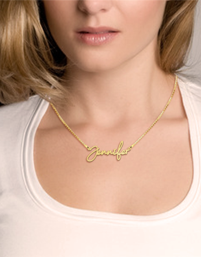 Gouden naamketting model Jennifer