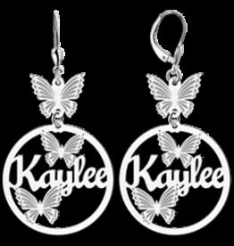 Zilveren naam oorbellen met vlinders