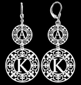 Zilveren oorbellen met letters
