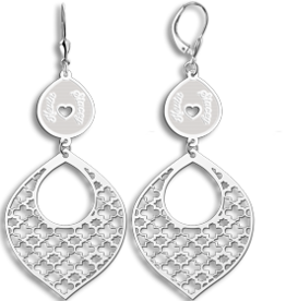 Zilveren arabische oorbellen met namen