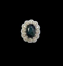 Wit gouden hanger - 14 karaats - Entourage - Blauw Saffier - 12 x diamant 0.05 crt W/SI