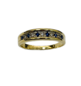 Occasions by Marleen Occasions by Marleen - 14 karaats - Gouden ring - 6 x Blauw Saffier, 5 x diamant 0.04 crt - Maat 19.5