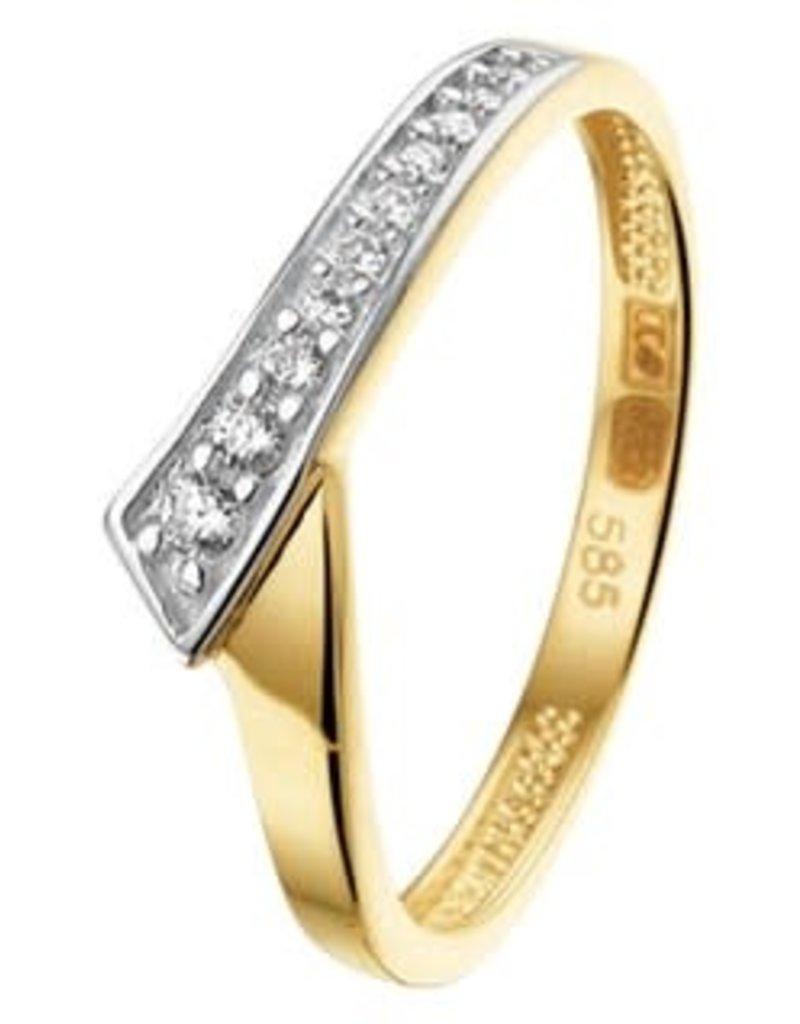 Gouden ring - Zirkonia - Maat 17 ¼