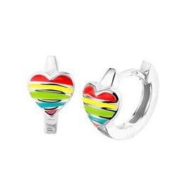 Zilveren klapcreolen - Gerhodineerd - Hartje - Multicolor