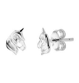 Zilveren oorknoppen - Gerhodineerd - Eenhoorn