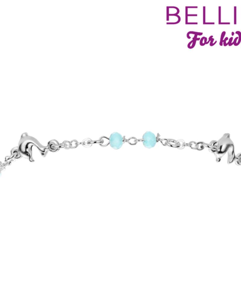 Bellini Bellini for kids - Zilveren armband - Dolfijntjes - Blauw