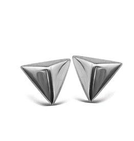 Jwls4u Jwls4u Earstuds Pyramid 3D Silver
