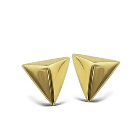 Jwls4u Jwls4u Earstuds Pyramid 3D Goldplated
