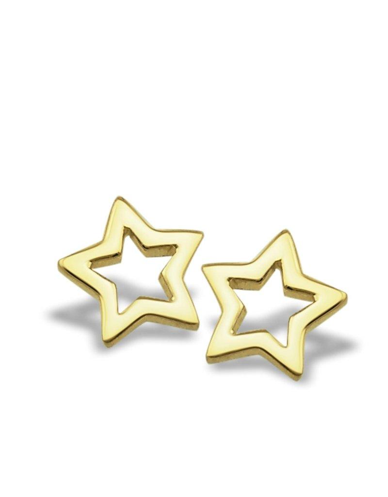 Jwls4u Jwls4u Earstuds Star Open Goldplated