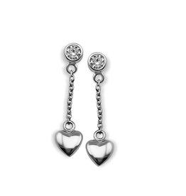 Jwls4u Jwls4u Earstuds Heart 3D Silver