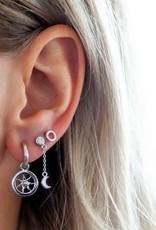 Jwls4u Jwls4u Earstuds With Hanger Moon Silver