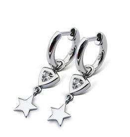 Jwls4u Jwls4u Earrings Trillion Star Silver