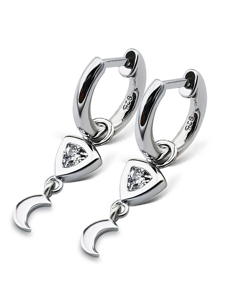 Jwls4u Jwls4u EarringsTrillion Moon Silver