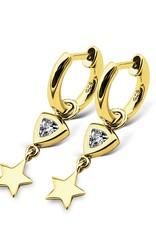 Jwls4u Jwls4u Earrings Trillion Star Gold-Plated