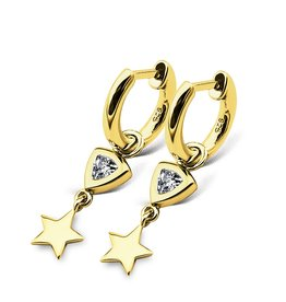 Jwls4u Jwls4u Earrings Trillion Star Goldplated