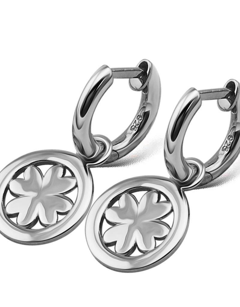 Jwls4u Jwls4u Earings Lucky Leaf Silver