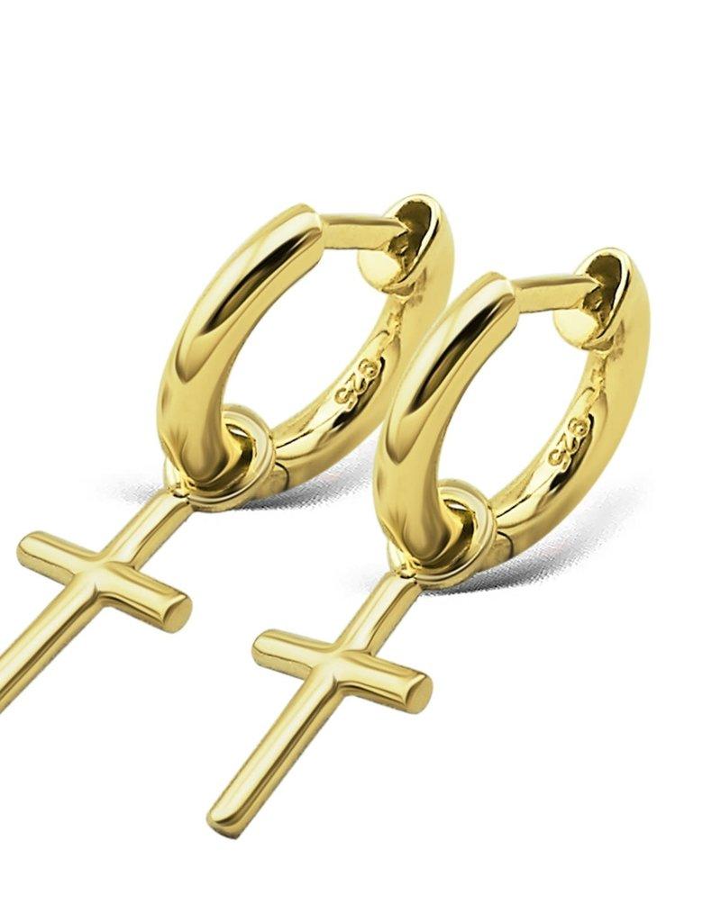 Jwls4u Jwls4u Earrings Cross Goldplated