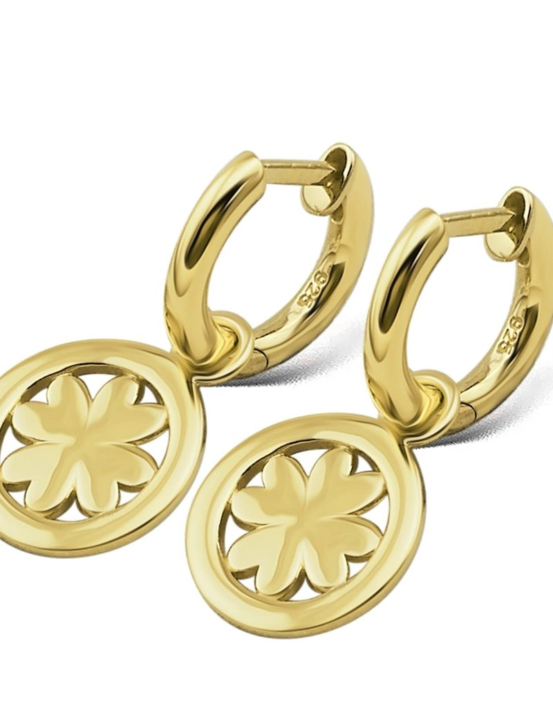 Jwls4u Jwls4u Earrings Lucky Leaf Goldplated