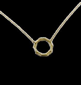 Gouden collier met hanger - 14 karaats - Paperclip rond- 41-45 cm