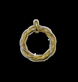 Gouden bicolor hanger - 14 karaats - Rond Swirl