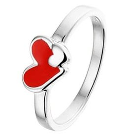 Zilveren ring - Emaille - Hart - Rood - Gerhodineerd - Maat 13