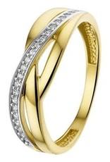 Gouden ring - 14 karaats - Zirkonia - Maat 16.5
