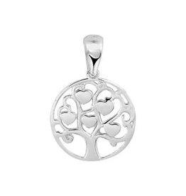 Zilveren hanger - Levensboom - Hartjes